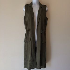 B.B. Dakota Military Green Long Vest S